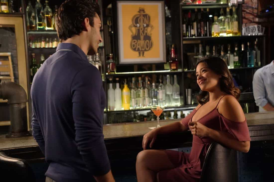 """Jane The Virgin -- """"Chapter Seventy-Four"""" -- Image Number: JAV410c_0579.jpg -- Pictured (L-R): Justin Baldoni as Rafael and Gina Rodriguez as Jane -- Photo: Lisa Rose/The CW -- © 2018 The CW Network, LLC. All Rights Reserved."""