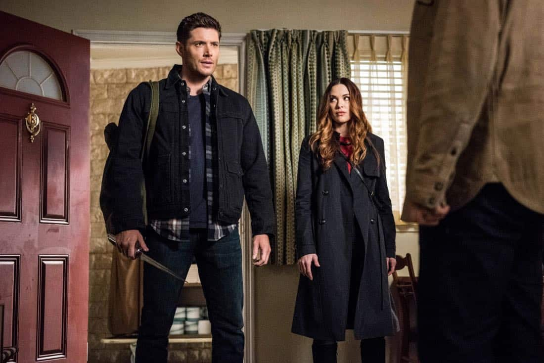 "Supernatural -- ""Devil's Bargain"" -- Image Number: SN1313a_0011b.jpg -- Pictured (L-R): Jensen Ackles as Dean and Danneel Ackles as Jo -- Photo: Dean Buscher/The CW -- © 2018 The CW Network, LLC All Rights Reserved"
