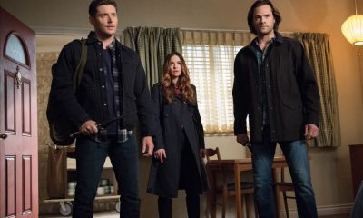 "Supernatural -- ""Devil's Bargain"" -- Image Number: SN1313a_0030b.jpg -- Pictured (L-R): Jensen Ackles as Dean, Danneel Ackles as Jo and Jared Padalecki as Sam -- Photo: Dean Buscher/The CW -- © 2018 The CW Network, LLC All Rights Reserved"