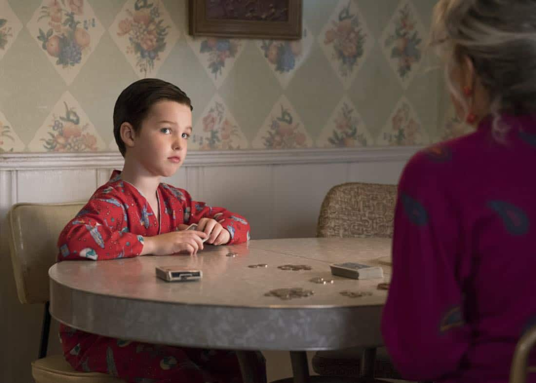 """Poker, Faith, and Eggs""-- Pictured: Sheldon (Iain Armitage). When George Sr. is rushed to the emergency room, Meemaw (Annie Potts) comes to babysit, and the kids have an adventure getting to the hospital on their own, when YOUNG SHELDON airs, Thursday Nov. 9 (8:31-9:01 PM, ET/PT) on the CBS Television Network. Photo: Michael Desmond/Warner Bros. Entertainment Inc. © 2017 WBEI. All rights reserved."