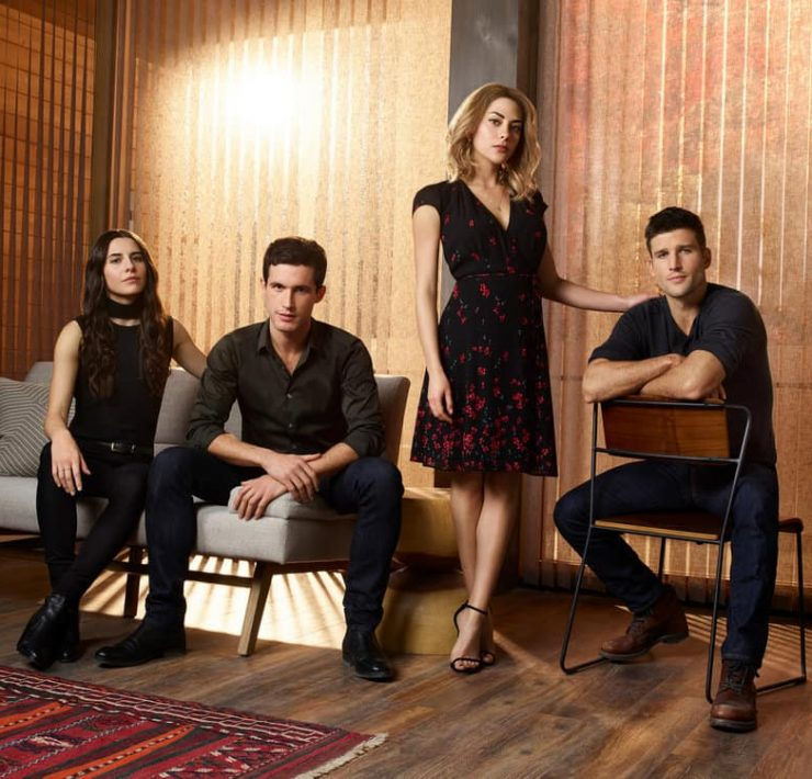 IMPOSTERS -- Season:2 -- Pictured: (l-r) Marianne Rendon as Jules, Rob Heaps as Ezra, Inbar Lavi as Maddie, Parker Young as Richard -- (Photo by: Smallz & Raskind/Bravo)