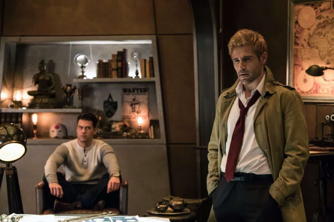 "DC's Legends of Tomorrow -- ""Daddy Darhkest"" -- Image Number: LGN310a_0453b.jpg -- Pictured (L-R): Nick Zano as Nate Heywood/Steel and Matt Ryan as Constantine -- Photo: Jeff Weddell/The CW -- © 2018 The CW Network, LLC. All Rights Reserved."