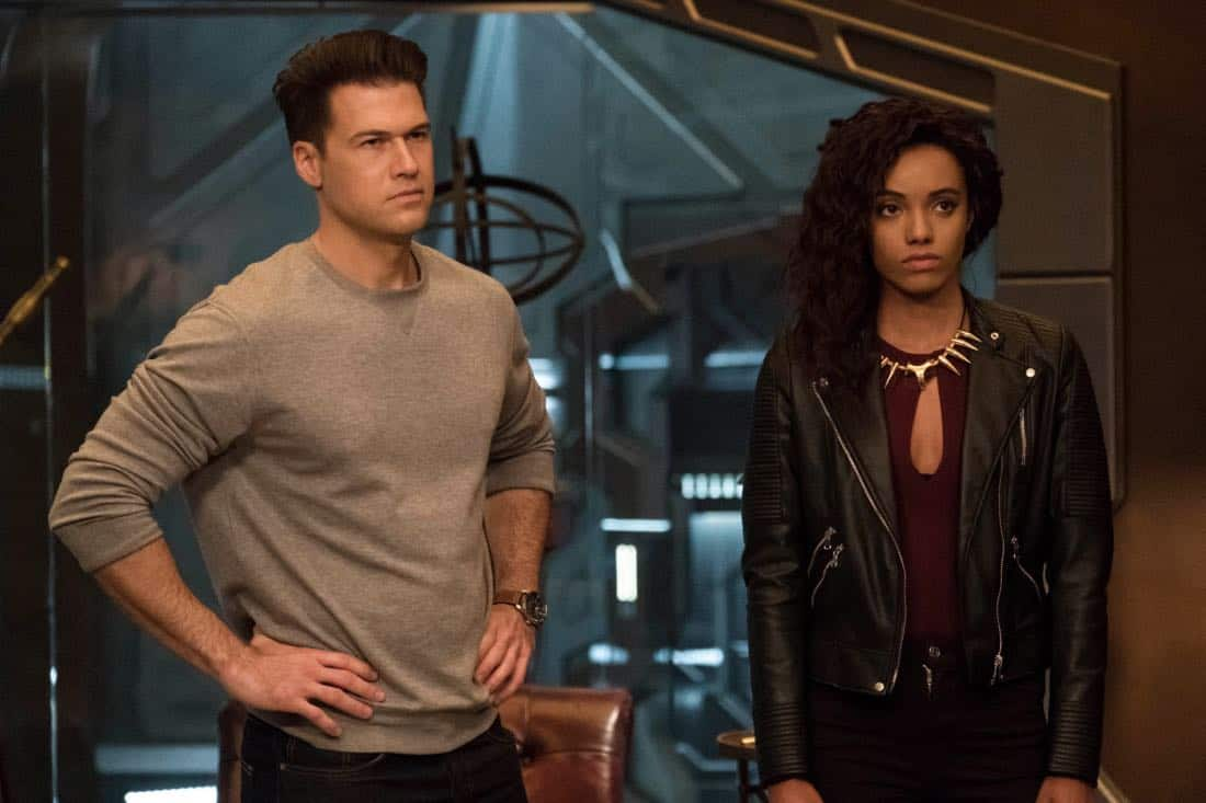 "DC's Legends of Tomorrow -- ""Daddy Darhkest"" -- Image Number: LGN310a_0237b.jpg -- Pictured (L-R): Nick Zano as Nate Heywood/Steel and Maisie Richardson-Sellers as Amaya Jiwe/Vixen -- Photo: Jeff Weddell/The CW -- © 2018 The CW Network, LLC. All Rights Reserved."