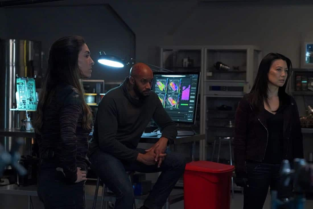 "MARVEL'S AGENTS OF S.H.I.E.L.D. - ""All the Comforts of Home"" - Coulson and team set out to rewrite the course of humanity's fate, but they're unaware that their efforts will dramatically change one S.H.I.E.L.D agent's life, on ""Marvel's Agents of S.H.I.E.L.D.,"" FRIDAY, MARCH 2 (9:01-10:01 p.m. EST), on The ABC Television Network. (ABC/Byron Cohen) NATALIA CORDOVA-BUCKLEY, HENRY SIMMONS, MING-NA WEN"