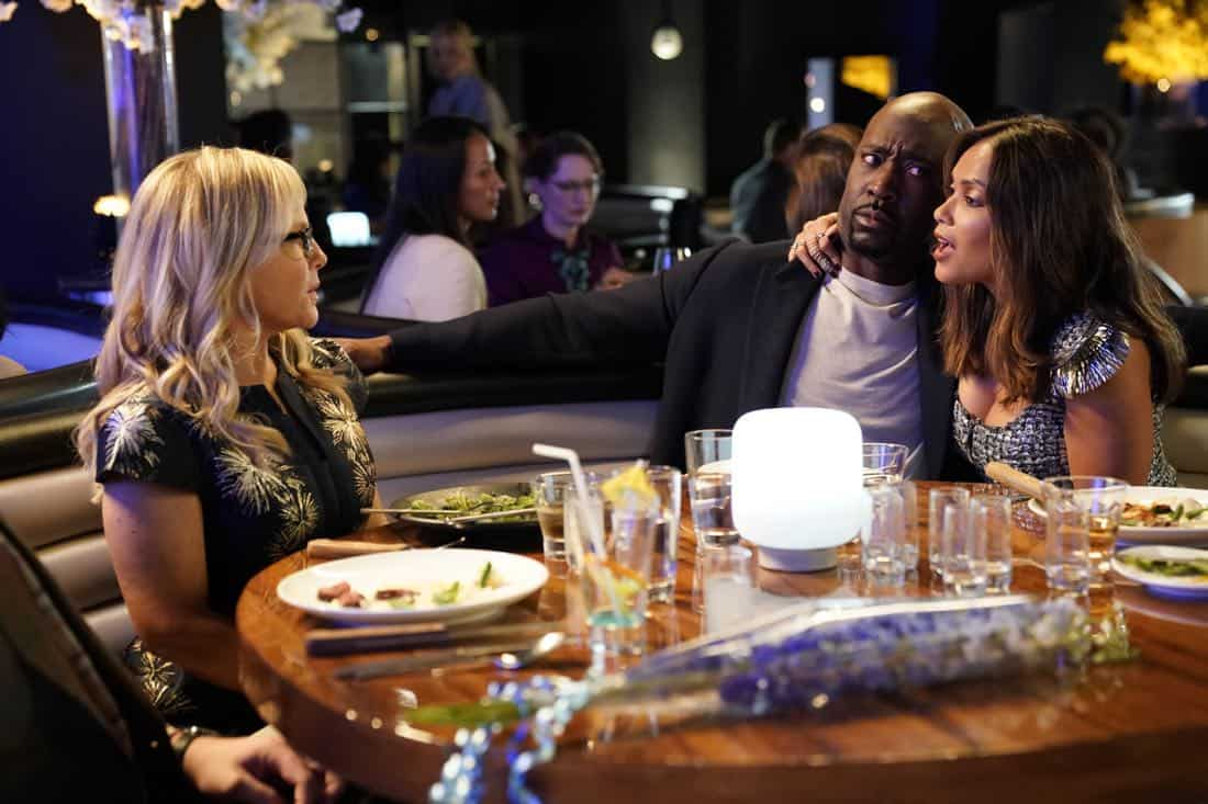 "LUCIFER: L-R: Rachael Harris, D.B. Woodside and Lesley-Ann Brandt in the ""High School Poppycock"" episode of LUCIFER airing Monday, Feb. 26 (8:00-9:00 PM ET/PT) on FOX. CR: Erik Voake/FOXLUCIFER: L-R: Rachael Harris, D.B. Woodside and Lesley-Ann Brandt in the ""High School Poppycock"" episode of LUCIFER airing Monday, Feb. 26 (8:00-9:00 PM ET/PT) on FOX. CR: Erik Voake/FOX"