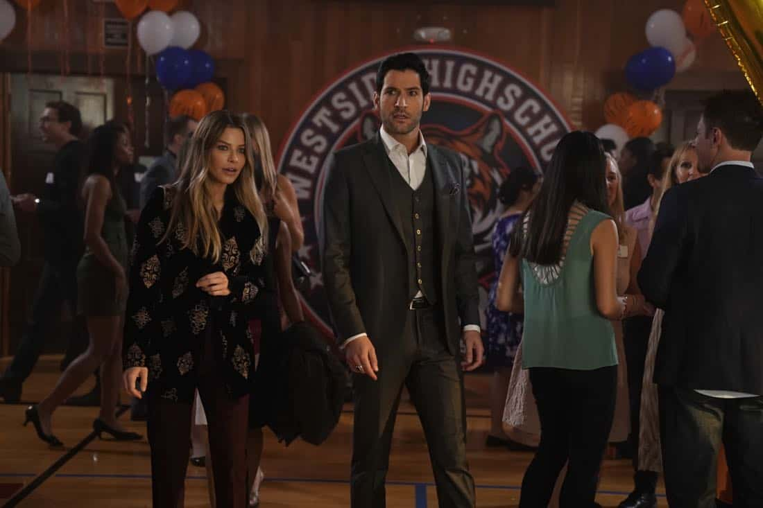 "LUCIFER: L-R: Lauren German and Tom Ellis in the ""High School Poppycock"" episode of LUCIFER airing Monday, Feb. 26 (8:00-9:00 PM ET/PT) on FOX. CR: Erik Voake/FOX"