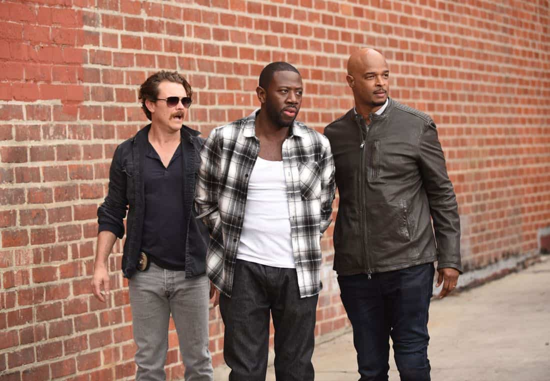 "LETHAL WEAPON: Pictured L-R: Clayne Crawford, guest star Sheaun McKinney and Damon Wayans in the ""Ruthless"" episode of LETHAL WEAPON airing Tuesday, Feb. 27 (8:00-9:00 PM ET/PT) on FOX. ©2018 Fox Broadcasting Co. CR: Ray Mickshaw/FOX"