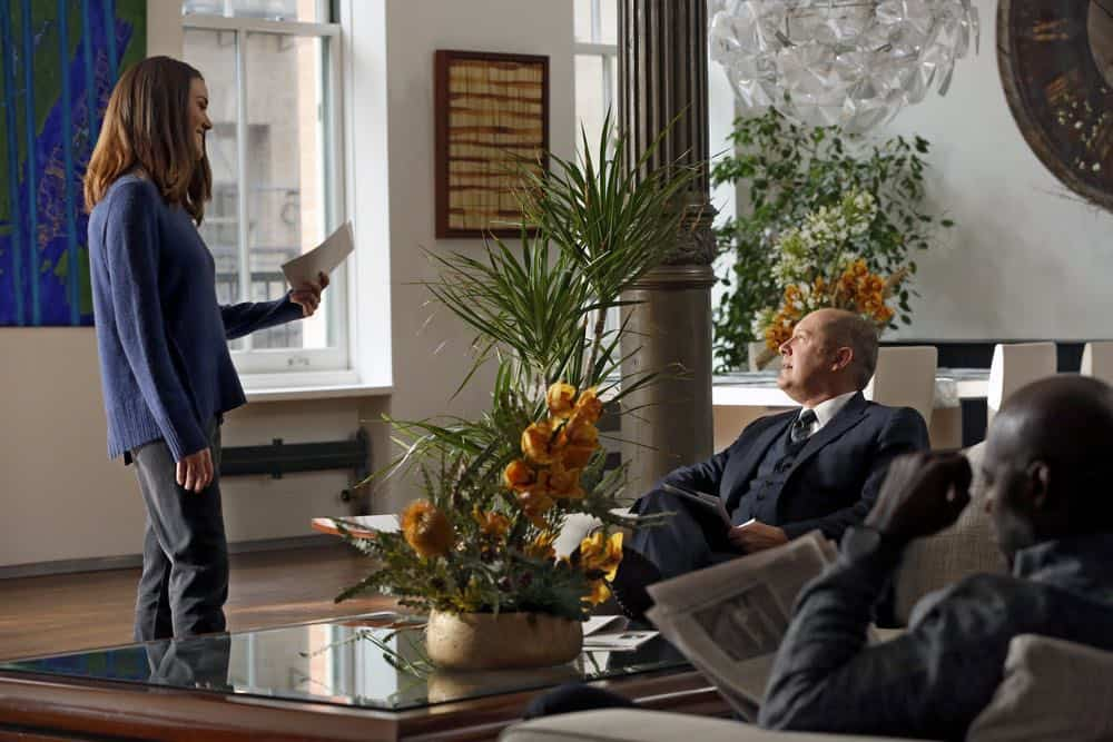 "THE BLACKLIST -- ""Mr. Raleigh Sinclair III (#51)"" Episode 514 -- Pictured: (l-r) Megan Boone as Elizabeth Keen, James Spader as Raymond ""Red"" Reddington -- (Photo by: Will Hart/NBC)"