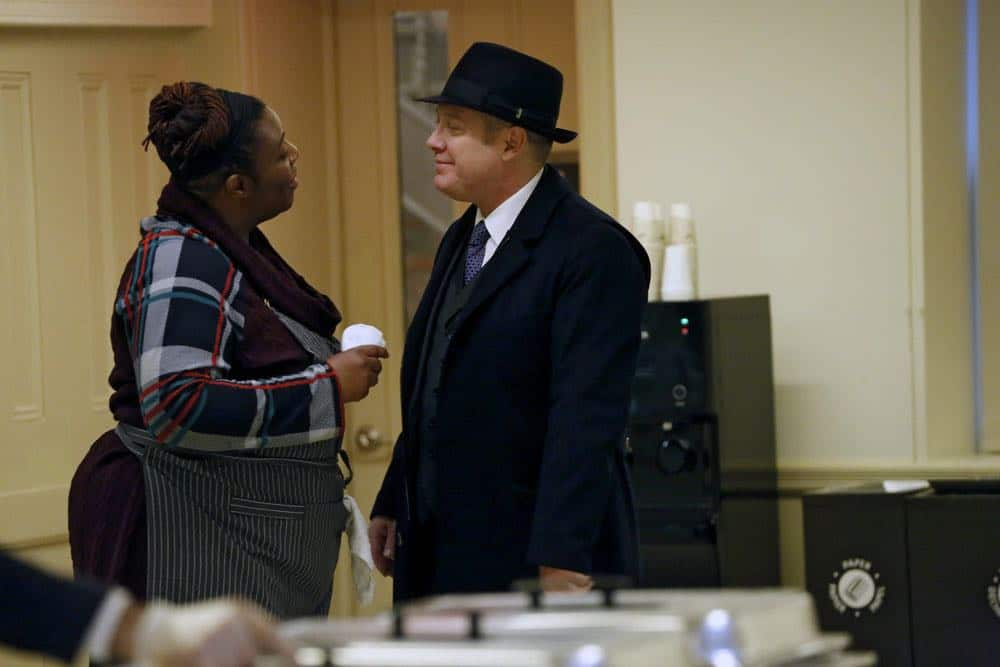 "THE BLACKLIST -- ""Mr. Raleigh Sinclair III (#51)"" Episode 514 -- Pictured: (l-r) Tamara Anderson as Marion Stamps, James Spader as Raymond ""Red"" Reddington -- (Photo by: Will Hart/NBC)"
