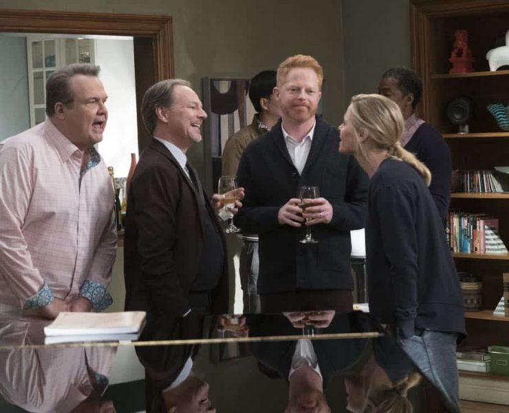 """MODERN FAMILY - """"Spanks for the Memories"""" - When Jay overhears Gloria on the phone talking about spanking, he assumes she is frustrated in the bedroom. When he attempts to light the spark again by giving her exactly what she wants, he realizes he might have made a mistake. Meanwhile, now that Mitchell has an amazing new job, he and Cam throw a party to rub it in Cam's friends' faces so they can no longer give him """"the look of pity,"""" on """"Modern Family,"""" WEDNESDAY, FEB. 28 (9:00-9:31 p.m. EST), on The ABC Television Network. (ABC/Ron Tom) ERIC STONESTREET, BO FOXWORTH, JESSE TYLER FERGUSON, JULIE BOWEN"""