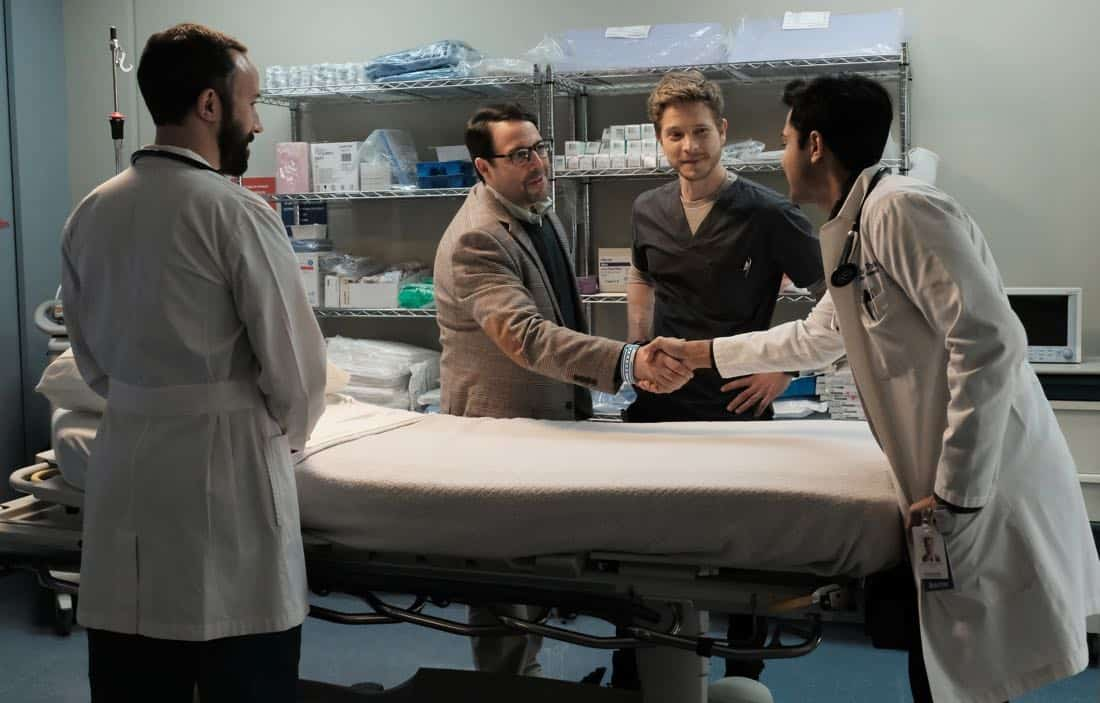 "THE RESIDENT:  L-R:  Guest star Tasso Feldman, guest star Steve Rosen, Matt Czuchry and Manish Dayal in the ""None the Wiser"" episode of THE RESIDENT airing Monday, Feb. 26 (9:00-10:00 PM ET/PT) on FOX.  ©2018 Fox Broadcasting Co.  Cr:  Guy D'Alema/FOX"