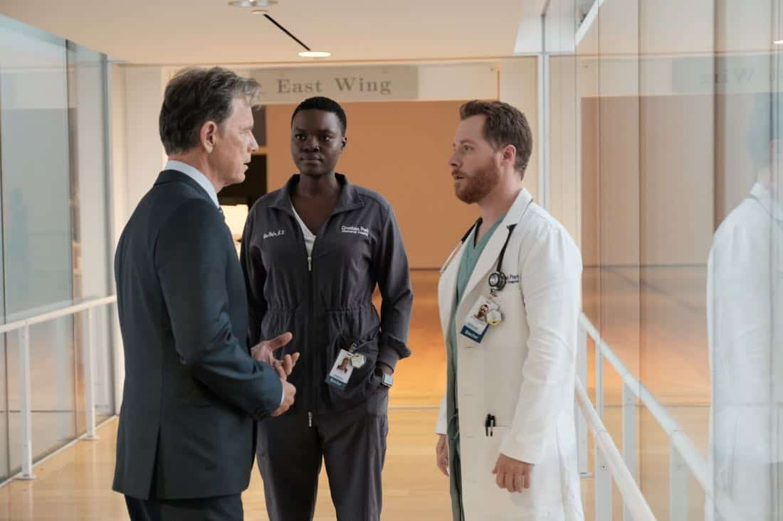 "THE RESIDENT:  L-R:  Bruce Greenwood, Shaunette Renée Wilson and guest star Steven Reddington in the ""None the Wiser"" episode of THE RESIDENT airing Monday, Feb. 26 (9:00-10:00 PM ET/PT) on FOX.  ©2018 Fox Broadcasting Co.  Cr:  Guy D'Alema/FOX"