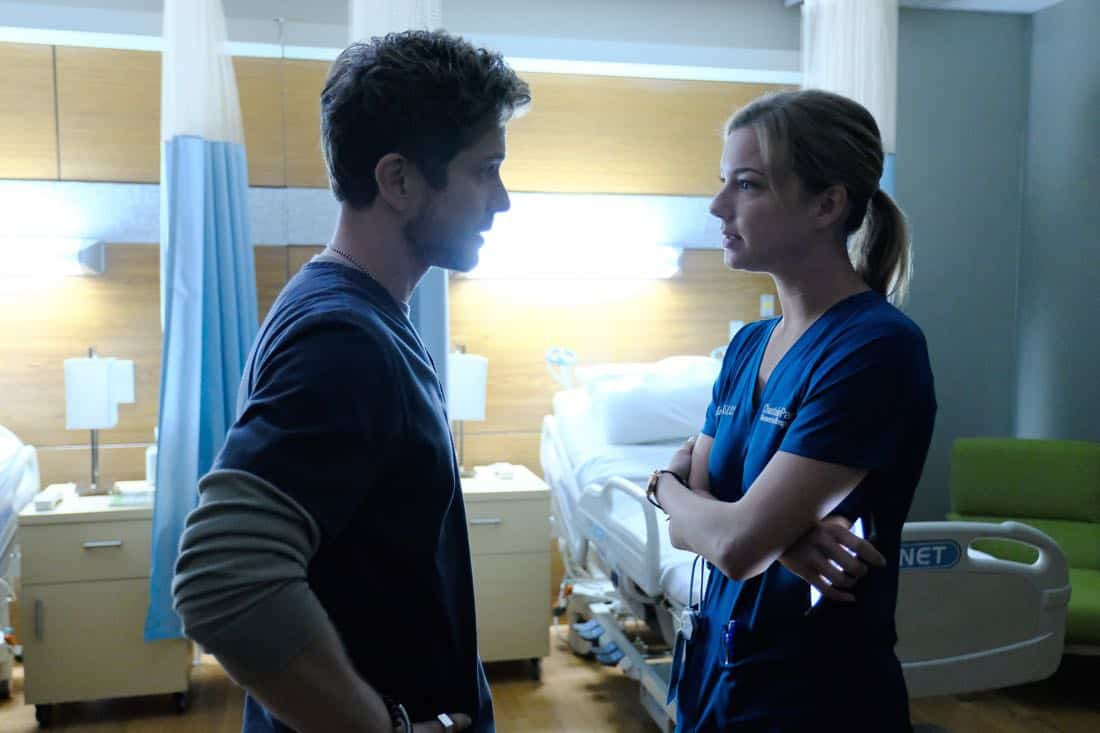 "THE RESIDENT:  L-R:  Matt Czuchry and Emily VanCamp in the ""None the Wiser"" episode of THE RESIDENT airing Monday, Feb. 26 (9:00-10:00 PM ET/PT) on FOX.  ©2018 Fox Broadcasting Co.  Cr:  Guy D'Alema/FOX"