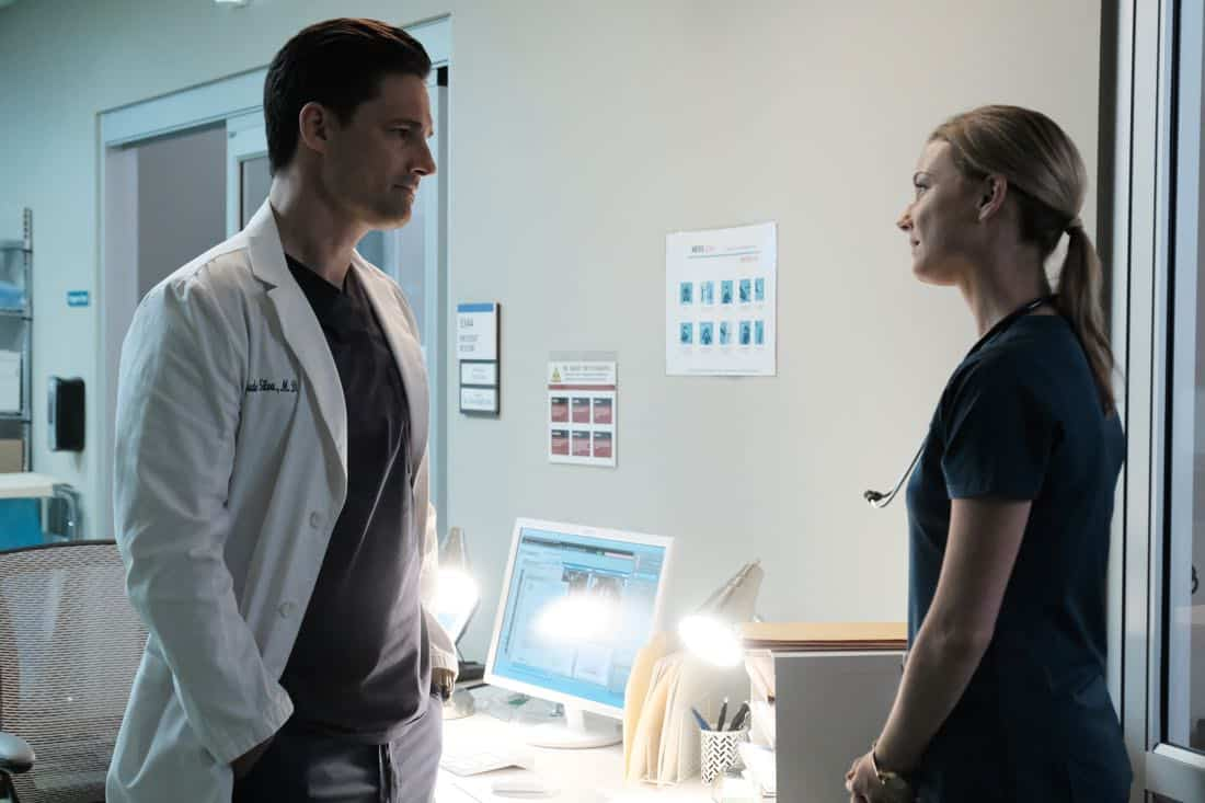 "THE RESIDENT:  L-R:  Guest star Warren Christie and Emily VanCamp in the ""None the Wiser"" episode of THE RESIDENT airing Monday, Feb. 26 (9:00-10:00 PM ET/PT) on FOX.  ©2018 Fox Broadcasting Co.  Cr:  Guy D'Alema/FOX"