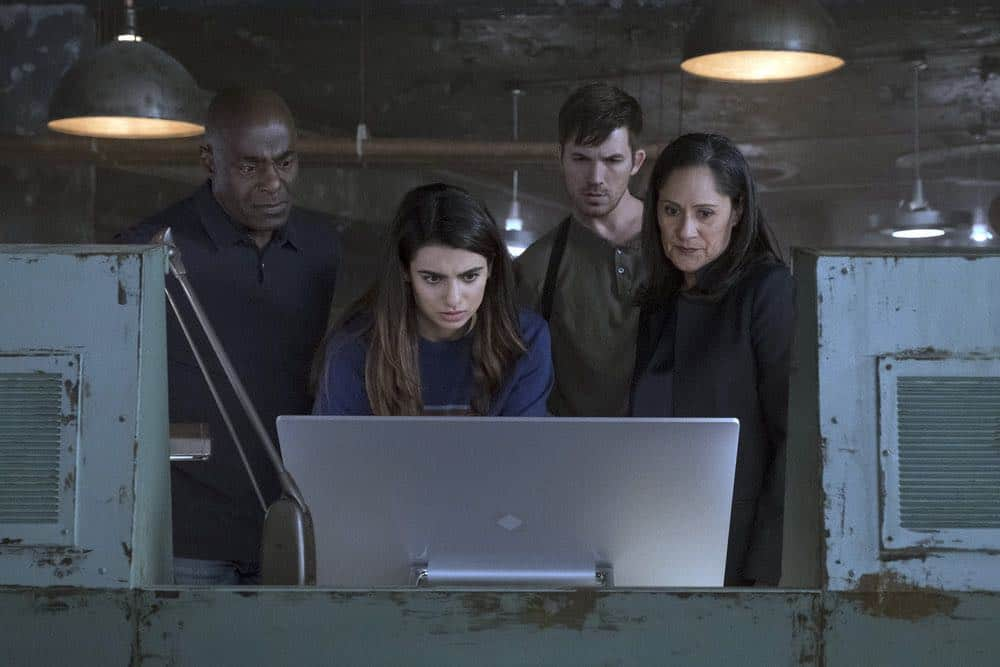 "TIMELESS -- ""The War to End All Wars"" Episode 201 -- Pictured: (l-r) Paterson Joseph as Conor Mason, Claudia Doumit as Jiya, Matt Lanter as Wyatt Logan, Sakina Jaffery as Denise Christopher -- (Photo by: Justin Lubin/NBC)"