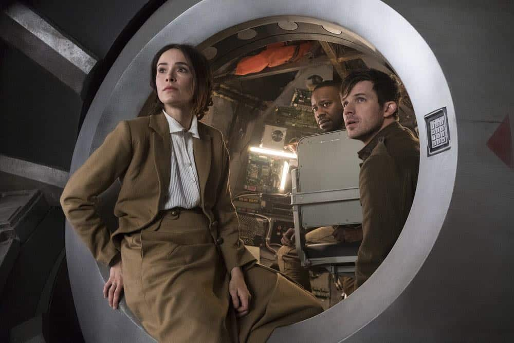 "TIMELESS -- ""The War to End All Wars"" Episode 201 -- Pictured: (l-r) Abigail Spencer as Lucy Preston, Malcolm Barrett as Rufus Carlin, Matt Lanter Wyatt Logan -- (Photo by: Justin Lubin/NBC)"