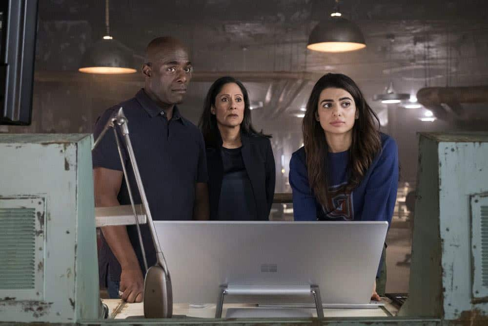 "TIMELESS -- ""The War to End All Wars"" Episode 201 -- Pictured: (l-r) Paterson Joseph as Connor Mason, Sakina Japery as Denise Christopher, Claudia Doumit as Jiya -- (Photo by: Justin Lubin/NBC)"