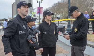 """Empathy"" -- NCIS investigates the disappearance of a Congressional aide after a hitman saves her from two men posing as NCIS agents. Also, Lasalle struggles with life-altering decisions regarding his brother's future, on NCIS: NEW ORLEANS, Tuesday, March 6 (10:00-11:00 PM, ET/PT) on the CBS Television Network. Pictured L-R: Lucas Black as Special Agent Christopher LaSalle, Shalita Grant as Sonja Percy, Vanessa Ferlito as FBI Special Agent Tammy Gregorio, and Scott Bakula as Special Agent Dwayne Pride Photo: Skip Bolen/CBS ©2018 CBS Broadcasting, Inc. All Rights Reserved"