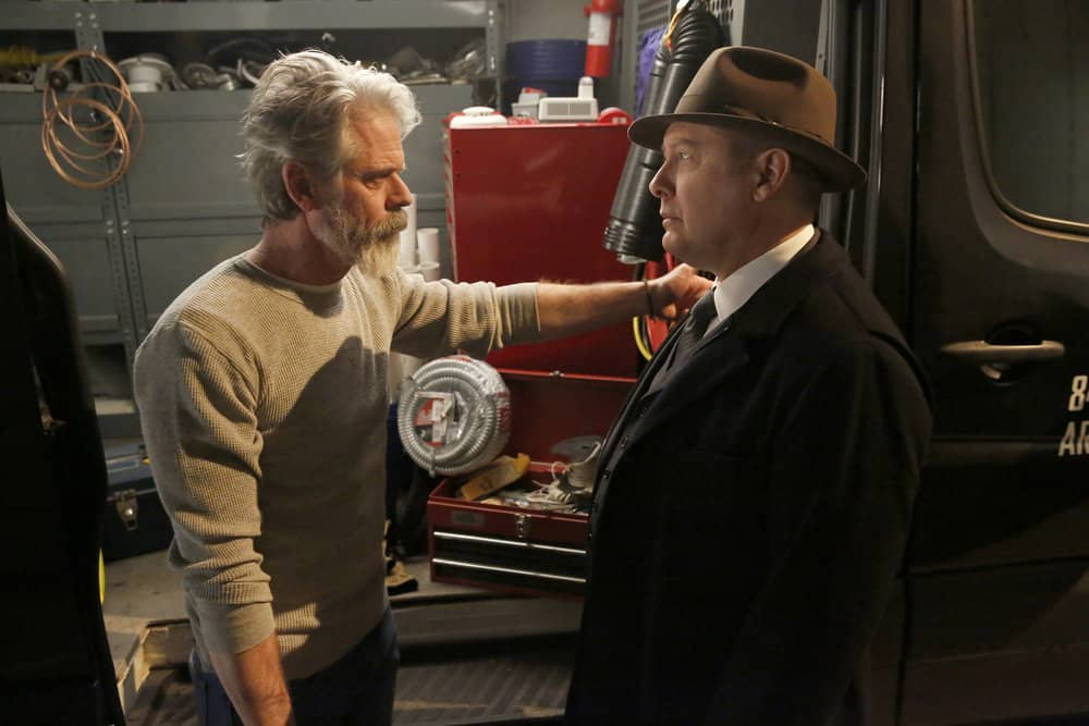 """THE BLACKLIST -- """"Pattie Sue Edwards  (#68)"""" Episode 515 -- Pictured: (l-r) C. Thomas Howell as Earl Fagen, James Spader as Raymond """"Red"""" Reddington -- (Photo by: Will Hart/NBC)"""