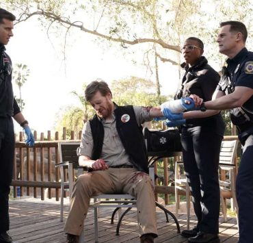"""9-1-1: L-R: Oliver Stark, guest star Brian Maillard, Aisha Hinds and Peter Krause in the """"Karma's A Bitch"""" episode of 9-1-1 airing Wednesday, March 7 (9:00-10:00 PM ET/PT) on FOX. CR: Michael Becker / FOX. © 2018 FOX Broadcasting."""