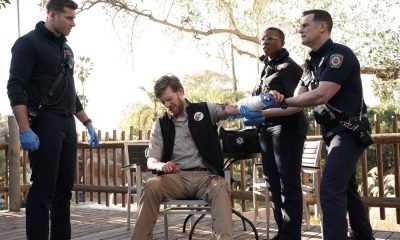 "9-1-1: L-R: Oliver Stark, guest star Brian Maillard, Aisha Hinds and Peter Krause in the ""Karma's A Bitch"" episode of 9-1-1 airing Wednesday, March 7 (9:00-10:00 PM ET/PT) on FOX. CR: Michael Becker / FOX. © 2018 FOX Broadcasting."