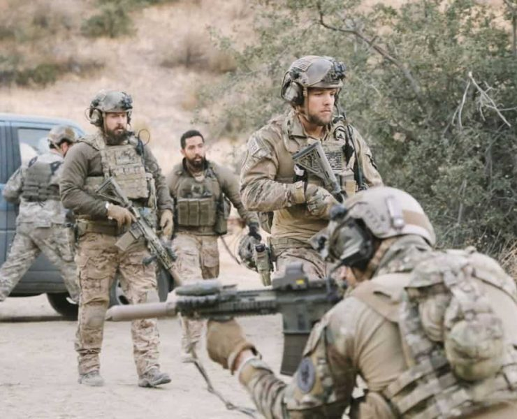No Mans Land, Jason and the SEAL Team close in on avenging the deaths of Echo Team when they find the money that funded their murder on a nearby poppy farm that was previously used to make heroin. Also, Jason meets an intriguing woman on the base, on SEAL TEAM, Wednesday, March 7 (9:01-10:00 PM, ET/PT) on the CBS Television Network. Pictured: AJ Buckley as Sonny Quinn, Neil Brown Jr. as Ray Perry, Max Thieriot as Clay Spenser. Photo: Eddy Chen/CBS ©2018 CBS Broadcasting, Inc. All Rights Reserved