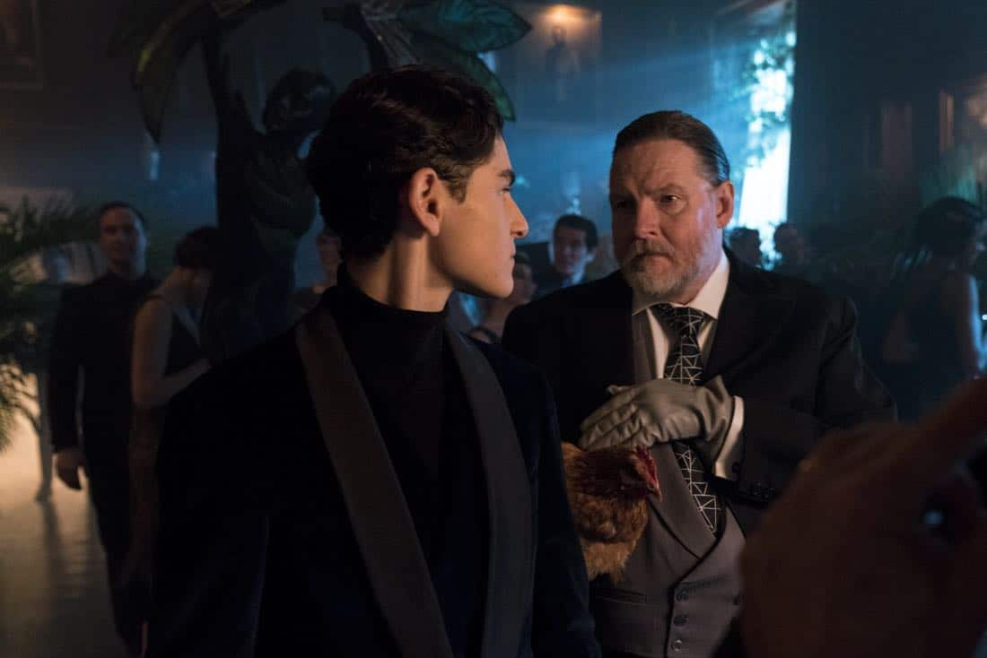 "GOTHAM: L-R: David Mazouz and Donal Logue in the ""A Dark Knight: A Beautiful Darkness"" episode of GOTHAM airing Thursday, March 8 (8:00-9:00 PM ET/PT) on FOX.  ©2018 Fox Broadcasting Co. Cr: David Giesbrecht/FOX"
