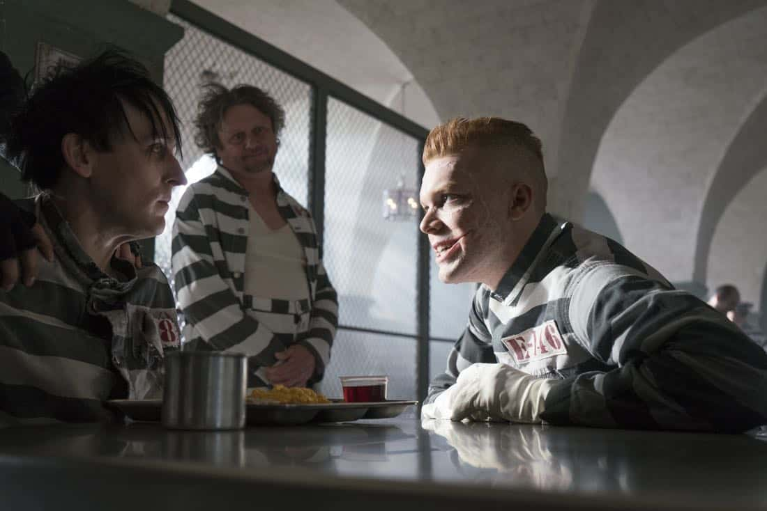 "GOTHAM: L-R: Robin Lord Taylor and guest star Cameron Monaghan in the ""A Dark Knight: A Beautiful Darkness"" episode of GOTHAM airing Thursday, March 8 (8:00-9:00 PM ET/PT) on FOX.  ©2018 Fox Broadcasting Co. Cr: Barbara Nitke/FOX"