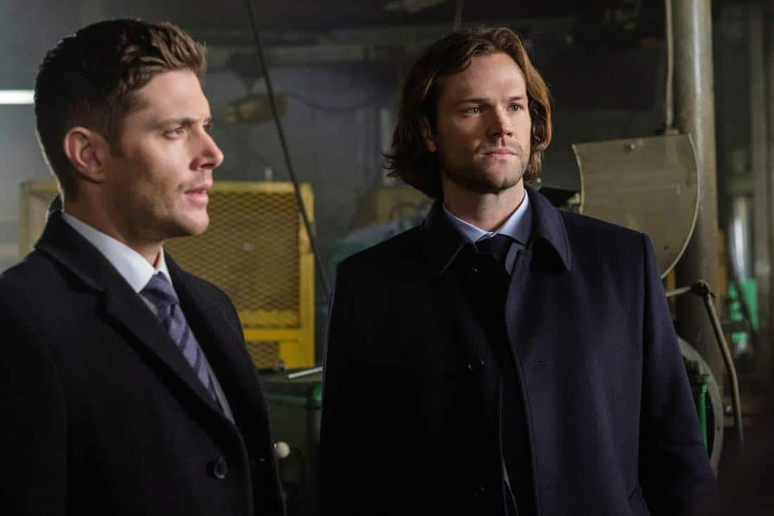 """Supernatural -- """"A Most Holy Man"""" -- Image Number: SN1315a_0113b.jpg -- Pictured (L-R): Jensen Ackles as Dean and Jared Padalecki as Sam -- Photo: Robert Falconer/The CW -- © 2018 The CW Network, LLC All Rights Reserved"""