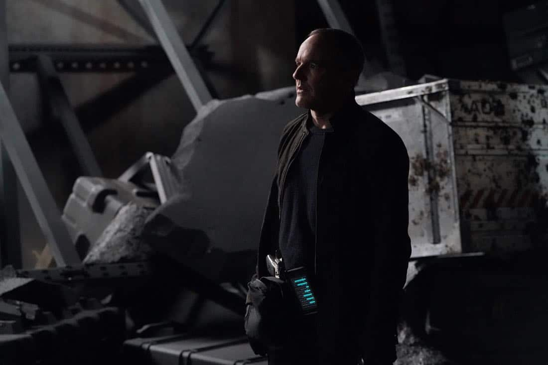 "MARVEL'S AGENTS OF S.H.I.E.L.D. - ""The Real Deal"" - In the milestone 100th episode, Coulson finally reveals the mysterious deal he made with Ghost Rider, which will impact everyone on the S.H.I.E.L.D. team., on ""Marvel's Agents of S.H.I.E.L.D.,"" FRIDAY, MARCH 9 (9:01-10:01 p.m. EST), on The ABC Television Network. (ABC/Byron Cohen) CLARK GREGG"