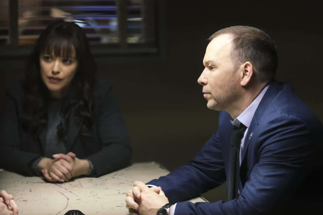 """Tale of Two Cities"" -- Danny and Baez investigate the murder of a man who was living a double life with two separate families, and Anthony tries to resist when Erin asks him to help investigate his old partner, whom she suspects of stealing drug money. Also, Frank deliberates between two candidates for the chief of transit position, on BLUE BLOODS, Friday, March 9 (10:00-11:00 PM, ET/PT) on the CBS Television Network. Pictured: Marisa Ramirez, Donnie Wahlberg. Photo: Craig Blankenhorn/CBS ©2017CBS Broadcasting Inc. All Rights Reserved."