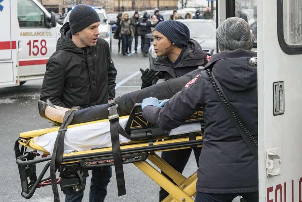 """CHICAGO P.D. -- """"Profiles"""" Episode 516 -- Pictured: (l-r) Jon Seda as Antonio Dawson, Monica Raymund as Gabriela Dawson -- (Photo by: Matt Dinerstein/NBC)"""