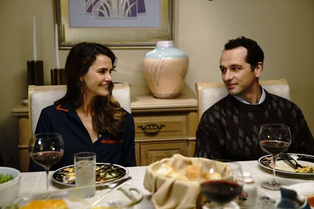 "THE AMERICANS -- ""Dead Hand"" -- Season 6, Episode 1 (Airs Wednesday, March 28, 10:00 pm/ep) -- Pictured: (l-r) Keri Russell as Elizabeth Jennings, Matthew Rhys as Philip Jennings. CR: Patrick Harbron/FX"