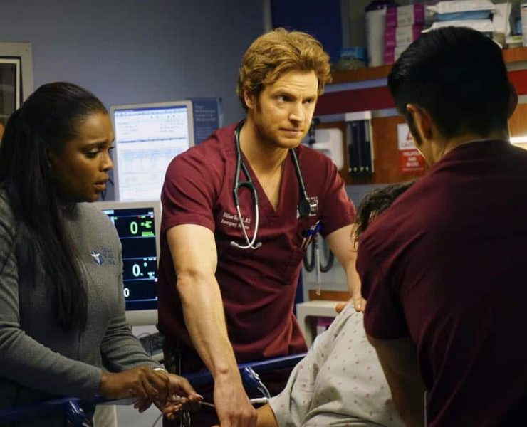 """CHICAGO MED -- """"Folie À Deux"""" Episode 311 -- Pictured: (l-r) Marlyne Barrett as Maggie Lockwood, Nick Gehlfuss as Will Halstead -- (Photo by: Elizabeth Sisson/NBC)"""