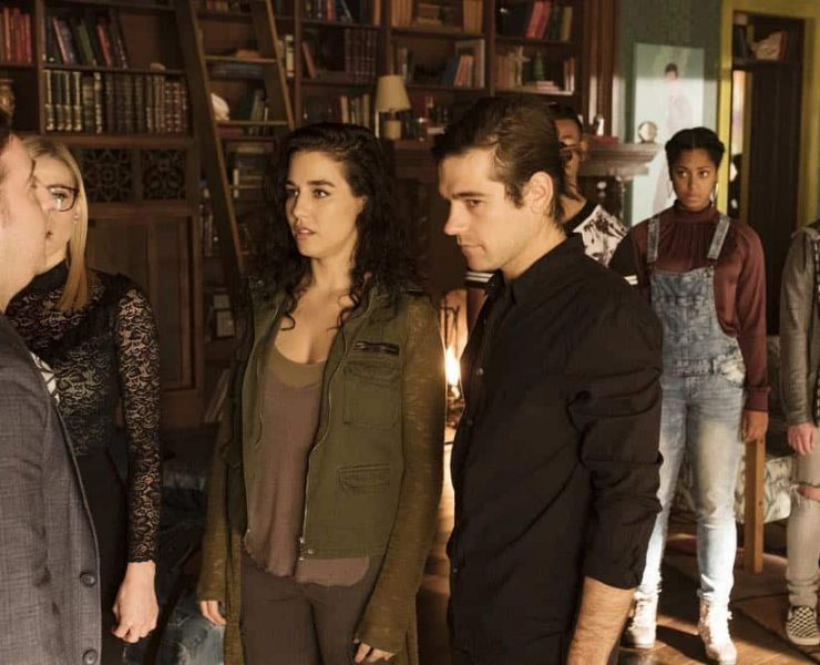 "THE MAGICIANS -- ""All That Josh"" Episode 309 -- Pictured: (l-r) Trevor Einhorn as Josh Hoberman, Olivia Taylor Dudley as Alice, Jade Tailor as Kady Orloff-Diaz, Jason Ralph as Quentin Coldwater -- (Photo by: Eric Milner/Syfy)"