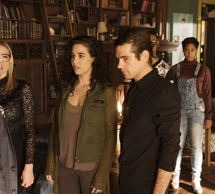 """THE MAGICIANS -- """"All That Josh"""" Episode 309 -- Pictured: (l-r) Trevor Einhorn as Josh Hoberman, Olivia Taylor Dudley as Alice, Jade Tailor as Kady Orloff-Diaz, Jason Ralph as Quentin Coldwater -- (Photo by: Eric Milner/Syfy)"""