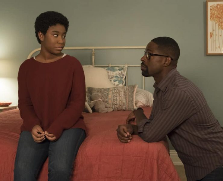 "THIS IS US -- ""This Big, Amazing, Beautiful Life"" Episode 217 -- Pictured: (l-r) Lyric Ross as Déjà, Sterling K. Brown as Randall -- (Photo by: Ron Batzdorff/NBC)"