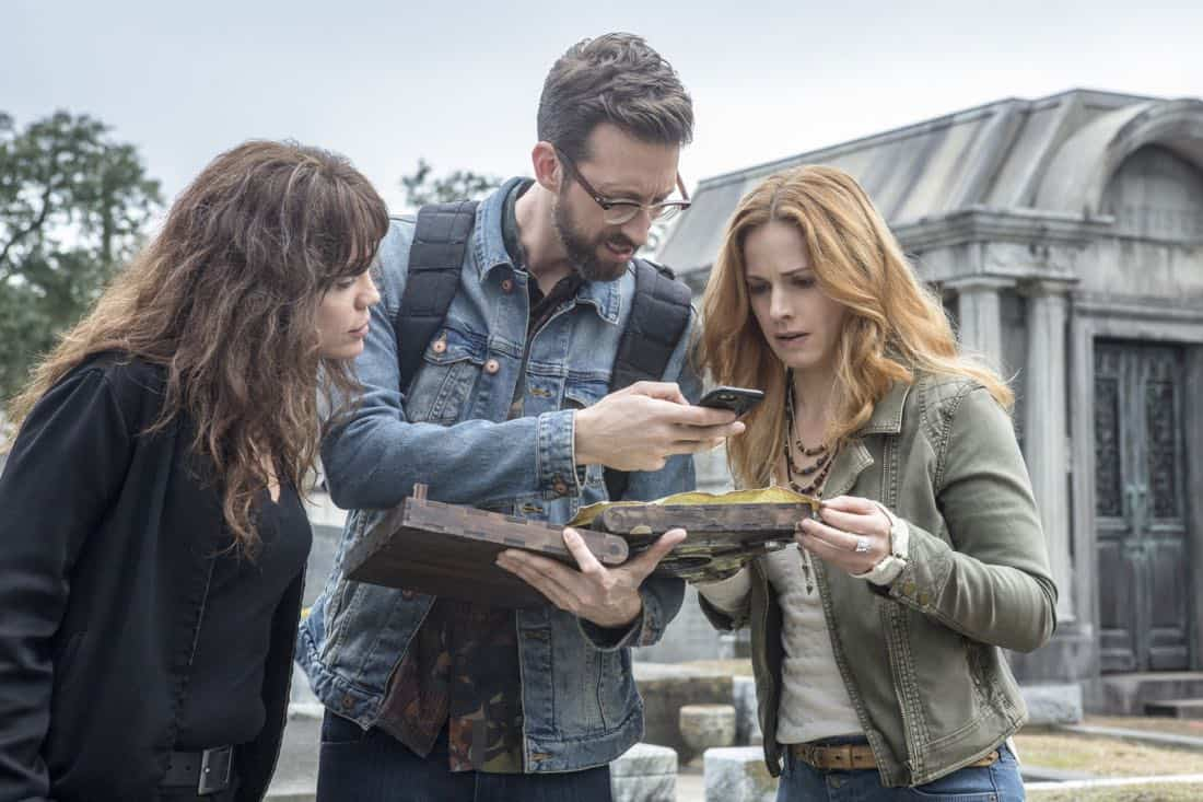 """""""Treasure Hunt"""" -- During the annual Contraband Days pirate festival, the NCIS team investigates the murder of a Navy captain who was searching for a valuable 200-year-old marble and gold fleur-de-lis, on NCIS: NEW ORLEANS, Tuesday, March 13 (10:00-11:00 PM, ET/PT) on the CBS Television Network. Pictured L-R: Vanessa Ferlito as FBI Special Agent Tammy Gregorio, Rob Kerkovich as Forensic Scientist Sebastian Lund, and Teal Wicks as Michelle Faucheux Photo: Skip Bolen/CBS ©2018 CBS Broadcasting, Inc. All Rights Reserved"""
