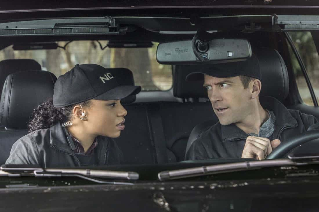 """""""Treasure Hunt"""" -- During the annual Contraband Days pirate festival, the NCIS team investigates the murder of a Navy captain who was searching for a valuable 200-year-old marble and gold fleur-de-lis, on NCIS: NEW ORLEANS, Tuesday, March 13 (10:00-11:00 PM, ET/PT) on the CBS Television Network. Pictured L-R: Pictured L-R: Shalita Grant as Sonja Percy and Lucas Black as Special Agent Christopher LaSalle Photo: Skip Bolen/CBS ©2018 CBS Broadcasting, Inc. All Rights Reserved"""