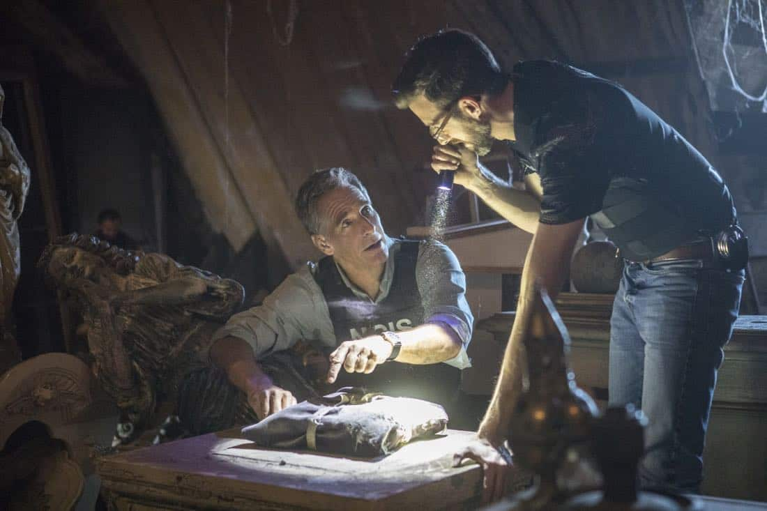"""""""Treasure Hunt"""" -- During the annual Contraband Days pirate festival, the NCIS team investigates the murder of a Navy captain who was searching for a valuable 200-year-old marble and gold fleur-de-lis, on NCIS: NEW ORLEANS, Tuesday, March 13 (10:00-11:00 PM, ET/PT) on the CBS Television Network. Pictured L-R: Scott Bakula as Special Agent Dwayne Pride and Rob Kerkovich as Forensic Scientist Sebastian Lund Photo: Skip Bolen/CBS ©2018 CBS Broadcasting, Inc. All Rights Reserved"""