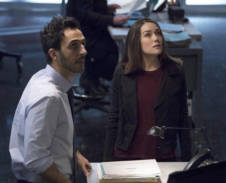 "THE BLACKLIST -- ""The Capricorn Killer"" Episode 516 -- Pictured: (l-r) Amir Arison as Aram Mojtabai, Megan Boone as Elizabeth Keen -- (Photo by: Virginia Sherwood/NBC)"
