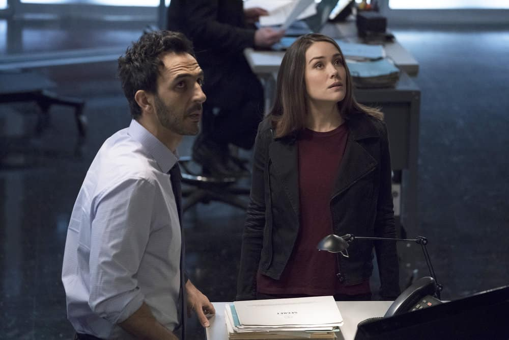 "THE BLACKLIST -- ""The Capricorn Killer"" Episode 516 -- Pictured: (l-r) Amir Arison as Aram Mojtabai, Megan Boone as Elizabeth Keen -- (Photo by: Virginia Sherwood/NBC)"