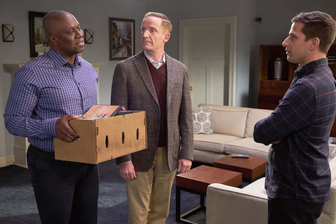 """BROOKLYN NINE-NINE: L-R: Andre Braugher, guest star Marc Evan Jackson and Andy Samberg in the """"Safe House"""" spring premiere episode of BROOKLYN NINE-NINE airing Sunday, March 18 (8:30-9:00 PM ET/PT) on FOX.CR: John P Fleenor/ FOX"""