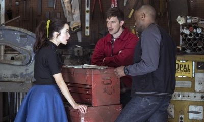 "TIMELESS -- ""Darlington"" Episode 202 -- Pictured: (l-r) Abigail Spencer as Lucy Preston, Matt Lanter as Wyatt Logan, Malcolm Barrett as Rufus Carlin -- (Photo by: Justin Lubin/NBC)"