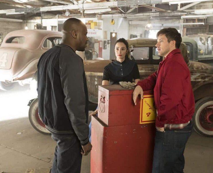 "TIMELESS -- ""Darlington"" Episode 202 -- Pictured: (l-r) Malcolm Barrett as Rufus Carlin, Abigail Spencer as Lucy Preston, Matt Lanter as Wyatt Logan -- (Photo by: Justin Lubin/NBC)"