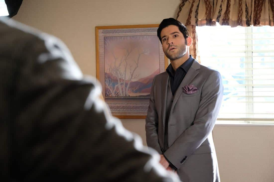 "LUCIFER: Tom Ellis in the ""The Last Heartbreak"" episode of LUCIFER airing Monday, March 19 (8:00-9:00 PM ET/PT) on FOX. CR: Ray MickshawFOX"