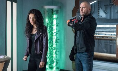 "DC's Legends of Tomorrow -- ""Necromancing the Stone"" -- Image Number: LGN315a_0411b.jpg -- Pictured (L-R): Maisie Richardson- Sellers as Amaya Jiwe/Vixen and Dominic Purcell as Mick Rory/Heat Wave -- Photo: Dean Buscher/The CW -- © 2018 The CW Network, LLC. All Rights Reserved."