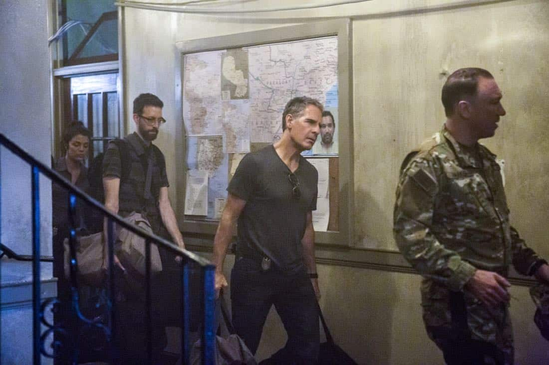 """Welcome to the Jungle"" -- Pride, Sebastian and Tammy travel to South America after Pride is personally requested by a former colleague to assist with a classified operation that has been compromised, on NCIS: NEW ORLEANS, Tuesday, March 27 (10:00-11:00 PM, ET/PT) on the CBS Television Network. Pictured L-R: Vanessa Ferlito as FBI Special Agent Tammy Gregorio, Rob Kerkovich as Forensic Scientist Sebastian Lund, Scott Bakula as Special Agent Dwayne Pride, and Patrick Page as Colonel Stanley Parker Photo: Skip Bolen/CBS ©2018 CBS Broadcasting, Inc. All Rights Reserved"