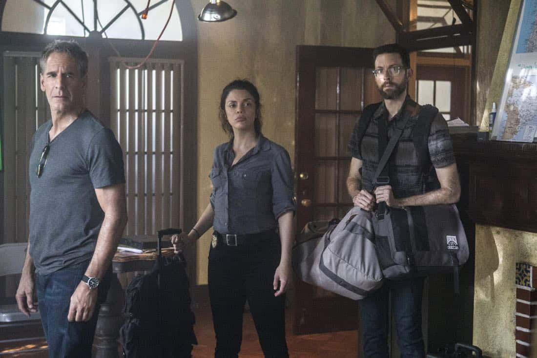 """Welcome to the Jungle"" -- Pride, Sebastian and Tammy travel to South America after Pride is personally requested by a former colleague to assist with a classified operation that has been compromised, on NCIS: NEW ORLEANS, Tuesday, March 27 (10:00-11:00 PM, ET/PT) on the CBS Television Network. Pictured L-R: Scott Bakula as Special Agent Dwayne Pride, Vanessa Ferlito as FBI Special Agent Tammy Gregorio, and Rob Kerkovich as Forensic Scientist Sebastian Lund Photo: Skip Bolen/CBS ©2018 CBS Broadcasting, Inc. All Rights Reserved"