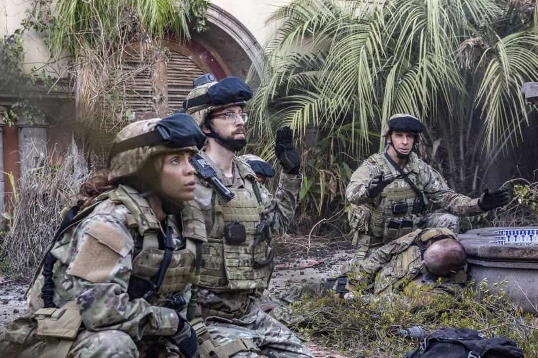 """Welcome to the Jungle"" -- Pride, Sebastian and Tammy travel to South America after Pride is personally requested by a former colleague to assist with a classified operation that has been compromised, on NCIS: NEW ORLEANS, Tuesday, March 27 (10:00-11:00 PM, ET/PT) on the CBS Television Network. Pictured L-R: Vanessa Ferlito as FBI Special Agent Tammy Gregorio, Rob Kerkovich as Forensic Scientist Sebastian Lund, and Scott Bakula as Special Agent Dwayne Pride Photo: Skip Bolen/CBS ©2018 CBS Broadcasting, Inc. All Rights Reserved"